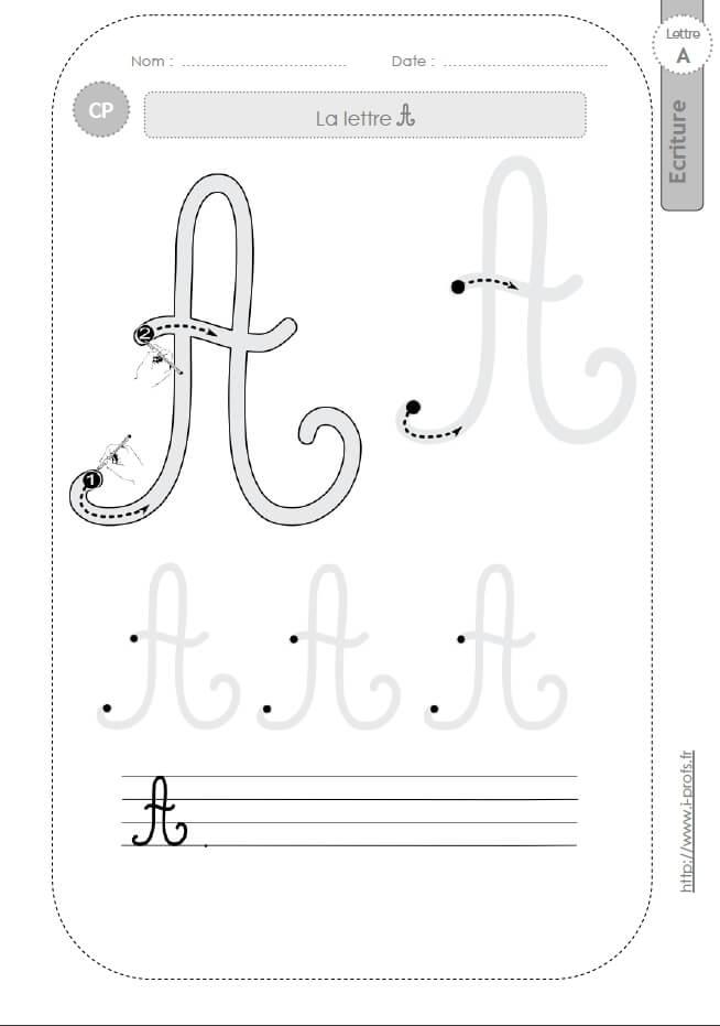 La Lettre A Majuscule Au Cp:fiches D'Ecriture. Modèles D dedans T Majuscule Cursive