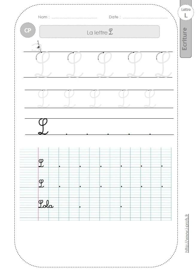 La Lettre L Majuscule Au Cp:fiches D'Ecriture. Modèles D avec T Majuscule Cursive
