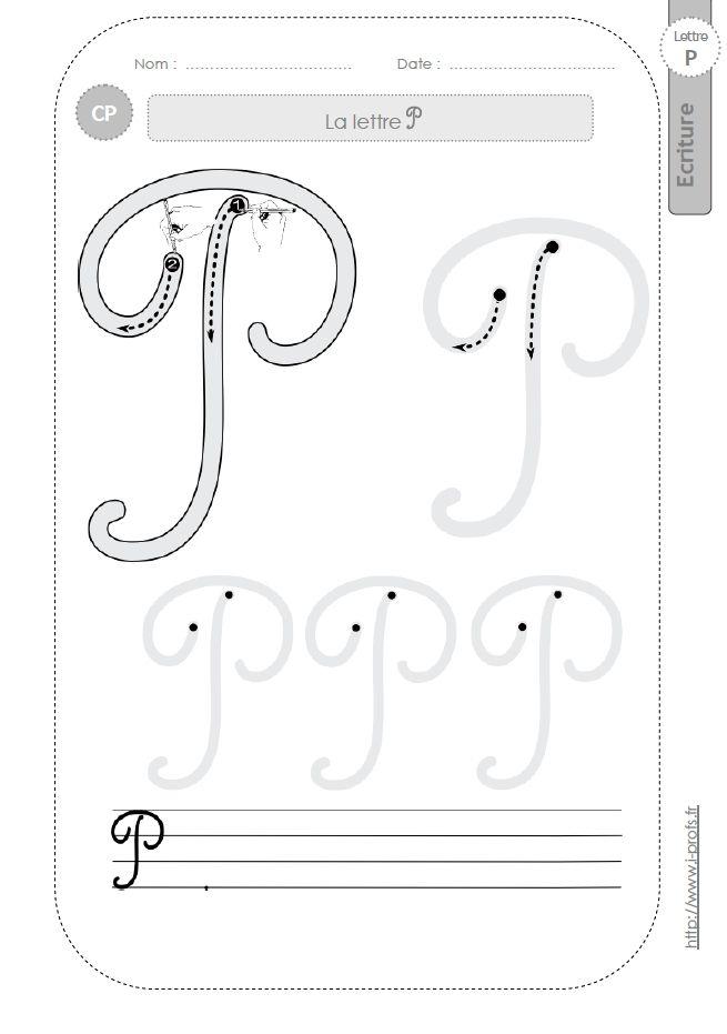 La Lettre P Majuscule Au Cp:fiches D'Ecriture. Modèles D avec T Majuscule Cursive