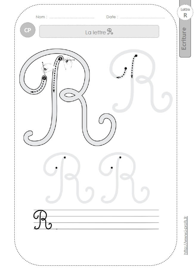 La Lettre R Majuscule Au Cp:fiches D'Ecriture. Modèles D tout T Majuscule Cursive