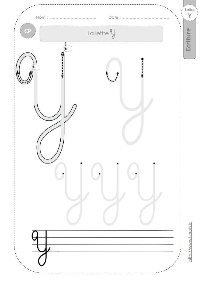 La Lettre Y Majuscule Au Cp:fiches D'Ecriture. Modèles D encequiconcerne Lettre En Cursive Majuscule