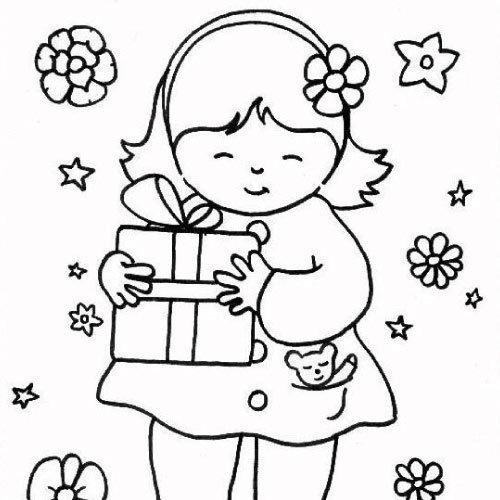 La Petite Fille Et Son Cadeau En Coloriage En Ligne Ou À tout Coloriage Gratuit En Ligne Pour Fille