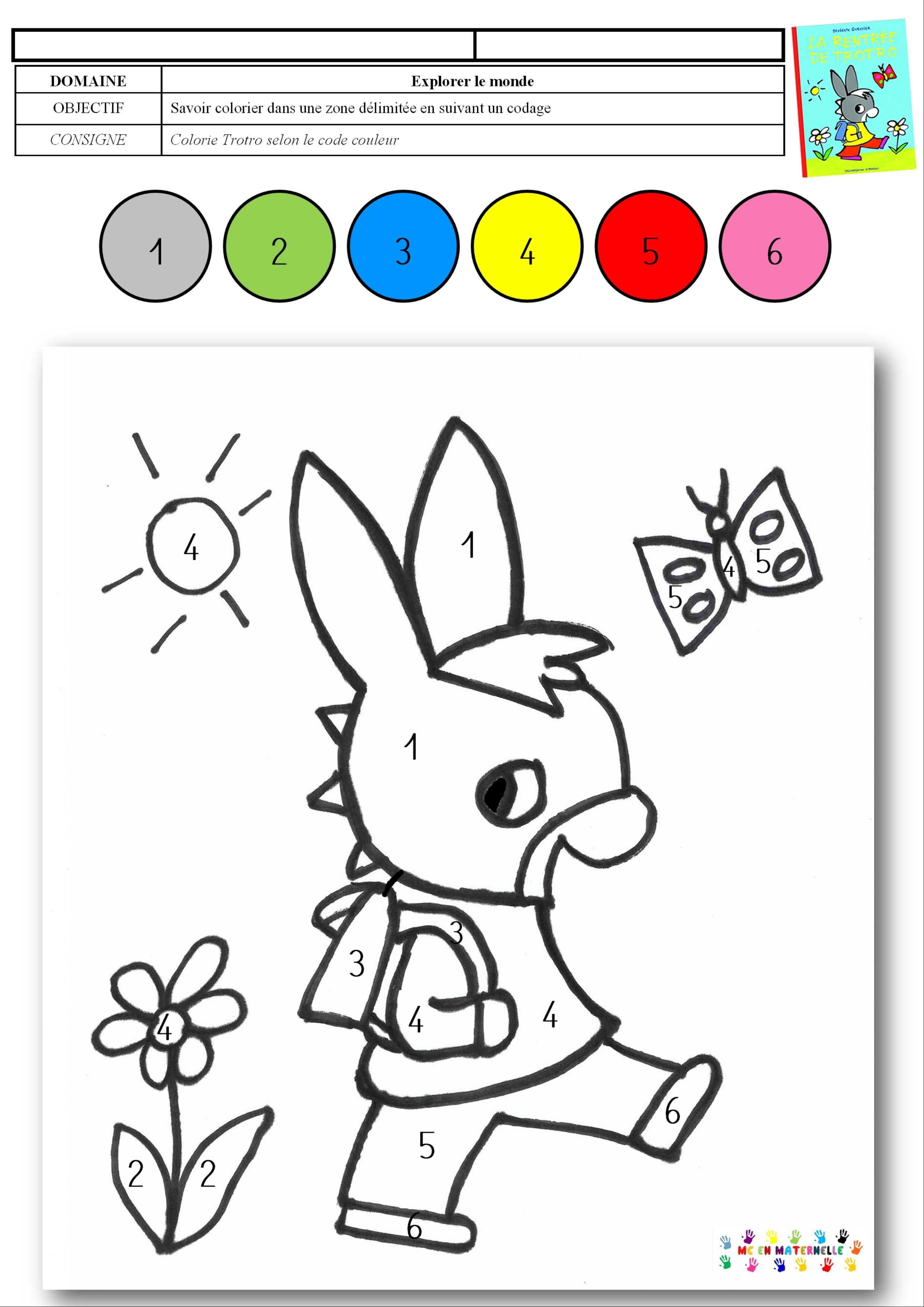La Rentrée De Trotro : Coloriage Magique – Mc En Maternelle serapportantà Coloriage Avec Chiffre