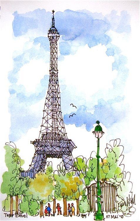 La Tour Eiffel | Ilustracion Acuarela, Arte De Acuarela pour Tour Effel Dessin