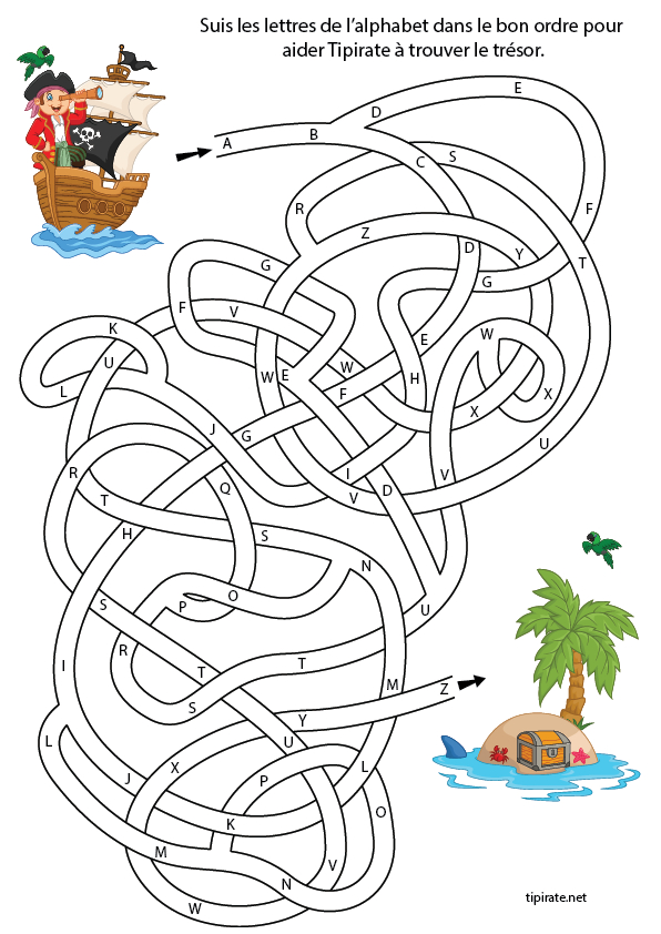 Labyrinthe Alphabet | Jeux Alphabet, Pirates Maternelle serapportantà Jeux Coloriage Gratuit