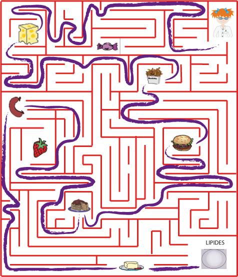 Labyrinthe : Les Aliments Contenant Des Lipides- Tête À tout Jeux Labyrinthe Difficiles