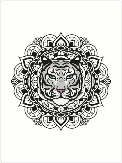 Láminas Artísticas «Tigre Blanco De Mandala» De à Mandalas De Tigres