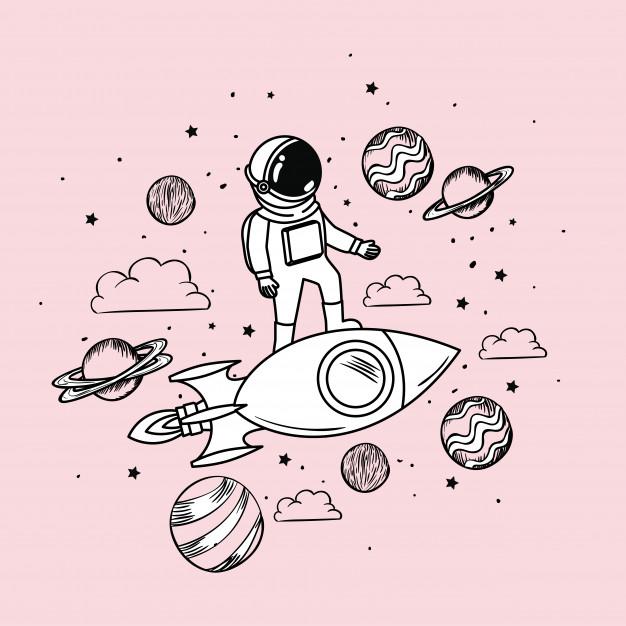 L'Astronaute Dessine Avec Une Fusée Et Des Planètes tout Dessin Uranus