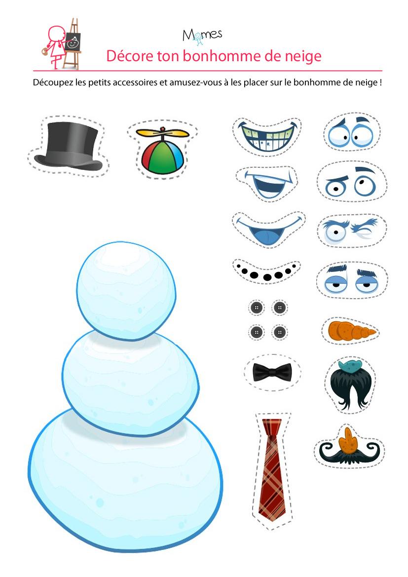 Le Bonhomme De Neige - Momes avec Décoration De Noel À Imprimer