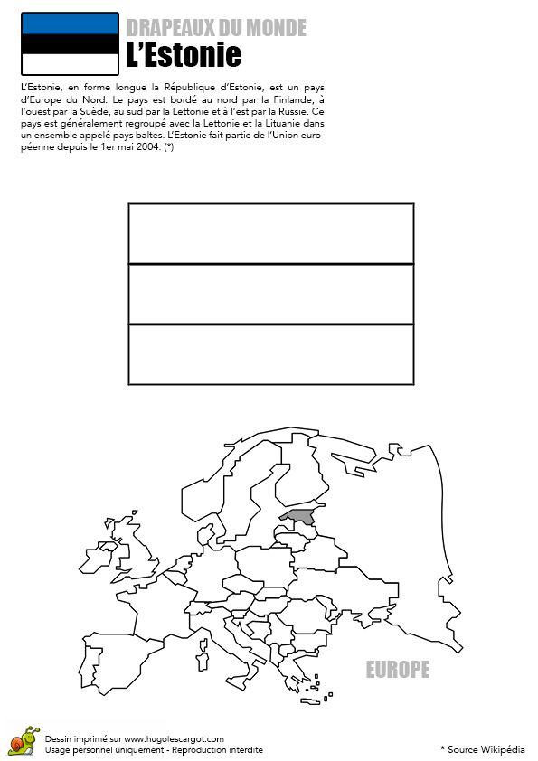 Le Drapeau En Bleu, Noir, Blanc De L'estonie À Colorier pour Drapeau Du Canada A Colorier