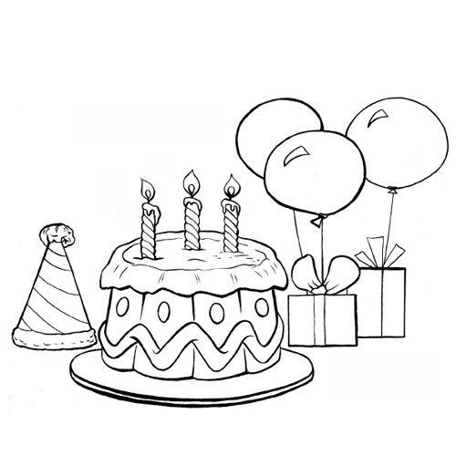 Le Gâteau D'Anniversaire Et Les Ballons En Coloriage À serapportantà Dessin D Anniversaire À Imprimer