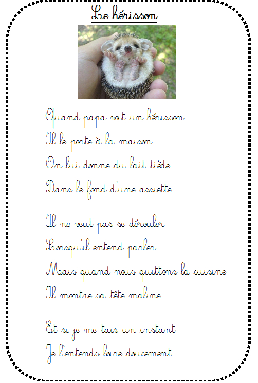 Le Hérisson De Papa - La Maternelle De Vivi tout Le Hérisson Chanson