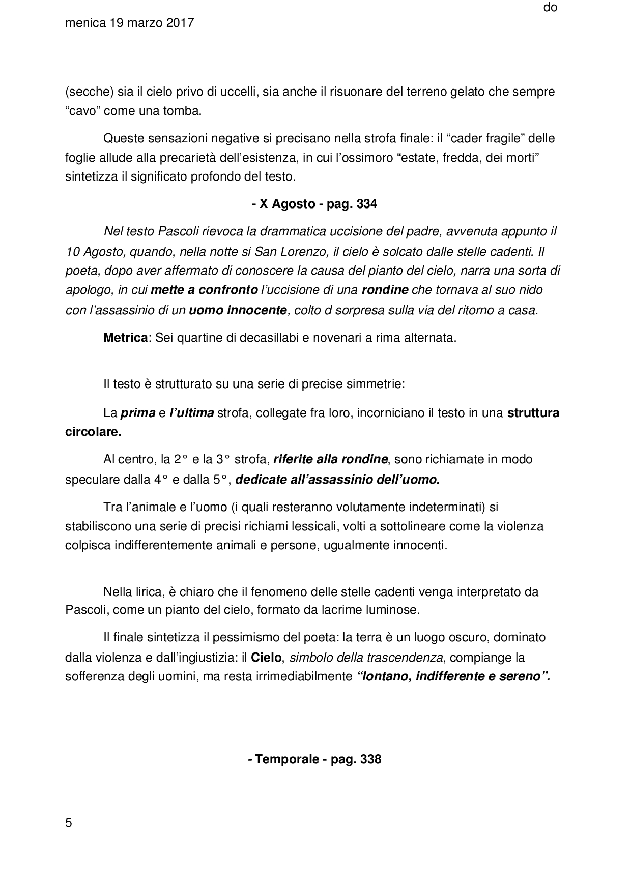 Le Opere Di Pascoli, Sintesi, Metrica E Commento - Docsity tout Docsity