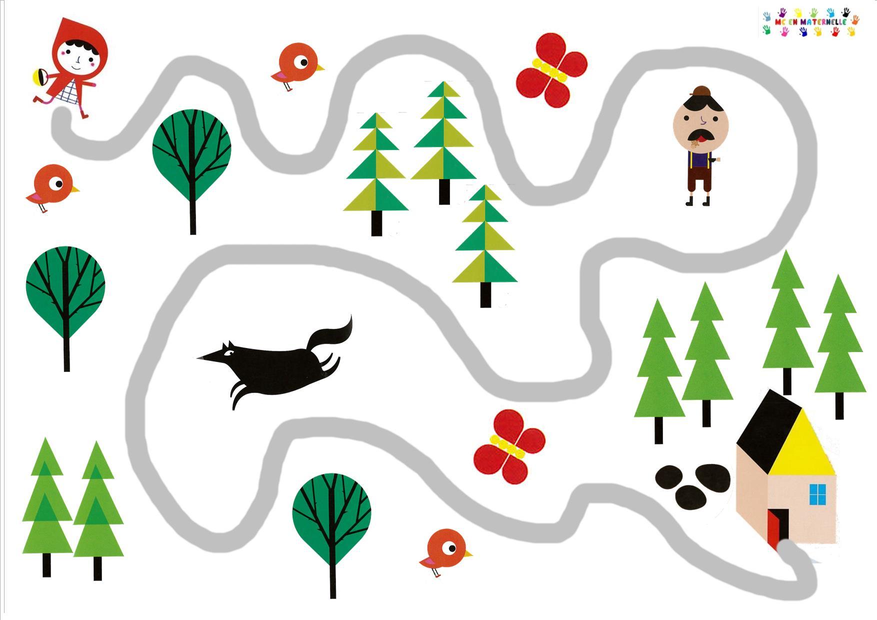 Le Petit Chaperon Rouge : Suivre Et Trouver Le Bon Chemin destiné Mc En Maternelle