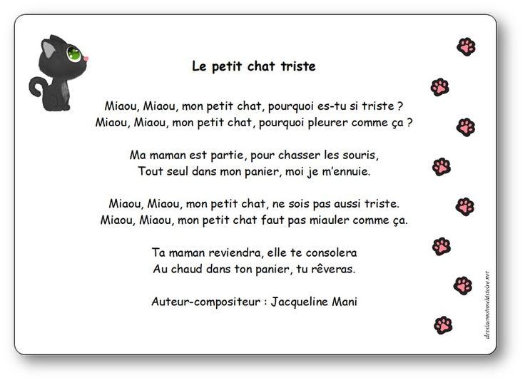 Le Petit Chat Triste, Une Chanson De Jacqueline Mani serapportantà Parole Chanson 3 Petit Chat