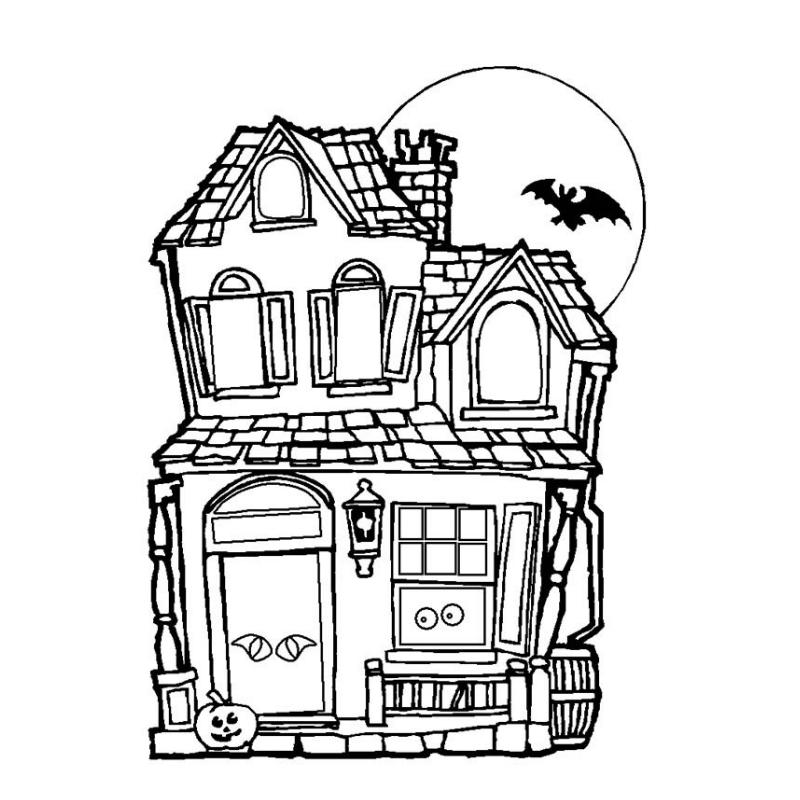 Le Plus Populaire Comment Dessiner Une Maison Hantee dedans Coloriage Chateau Hanté