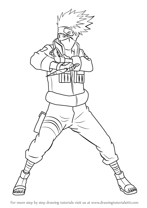 Learn How To Draw Kakashi Hatake From Naruto (Naruto) Step serapportantà Coloriage Naruto Et Kakashi