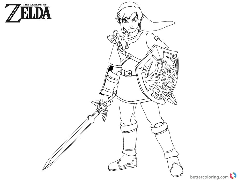 Legend Of Zelda Coloring Pages Link With Sword And Shield avec Coloriage Zelda Breath Of The Wild