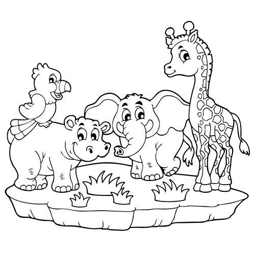 L'Éléphant, L'Hippopotame, Le Perroquet Et La Girafe En à Coloriage Animaux De La Jungle Gratuit