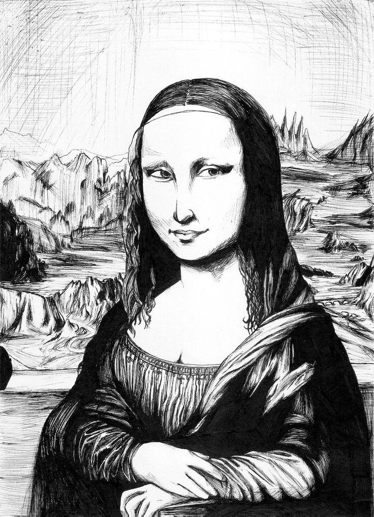 Les 2617 Meilleures Images Du Tableau La Joconde Sur avec La Joconde Dessin