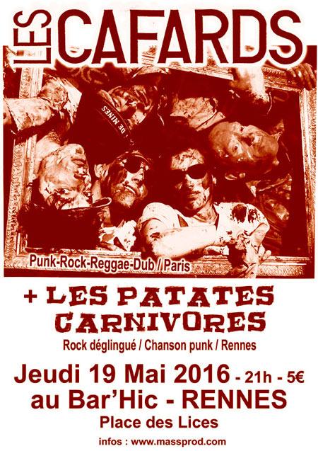 Les Cafards + Les Patates Carnivores Au Bar'Hic Le 19 Mai pour Les Patates Chanson