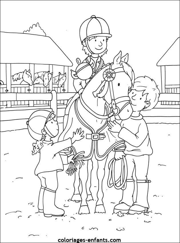 Les Coloriages De Equitation De Coloriages-Enfants destiné Coloriage À Imprimer De Cheval