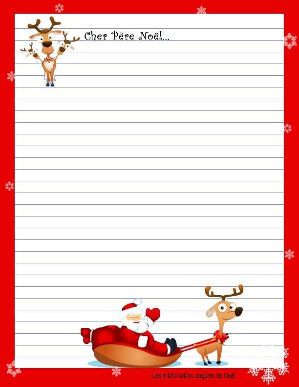 Lettre Au Père Noël   Lettre Pere Noel, Pere Noel A pour Papier Lettre Pere Noel