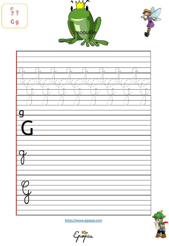 Lettre G En Majuscule, Minuscule, Cursive / Attaché Et Script encequiconcerne Lettre En Cursive Majuscule