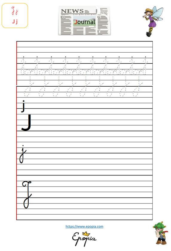 Lettre J En Majuscule, Minuscule, Cursive / Attaché Et Script intérieur Lettre En Cursive Majuscule