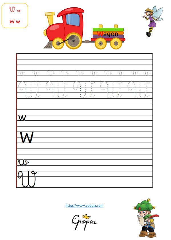 Lettre W En Majuscule, Minuscule, Cursive / Attaché Et Script avec Lettre En Cursive Majuscule