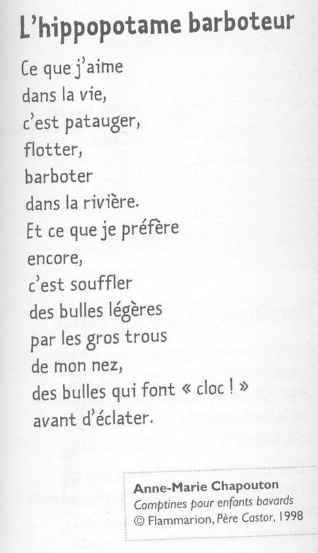 L'Hippopotame Barboteur - Ce1 - En Direct De L'École De Turny à Vacances Poesie