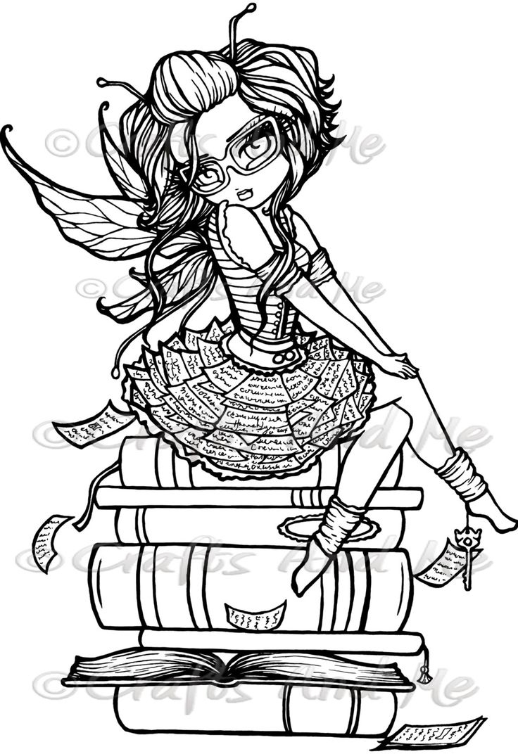 Library Fairy Digital Stamp | Cute Coloring Pages, Fairy avec Coloriag