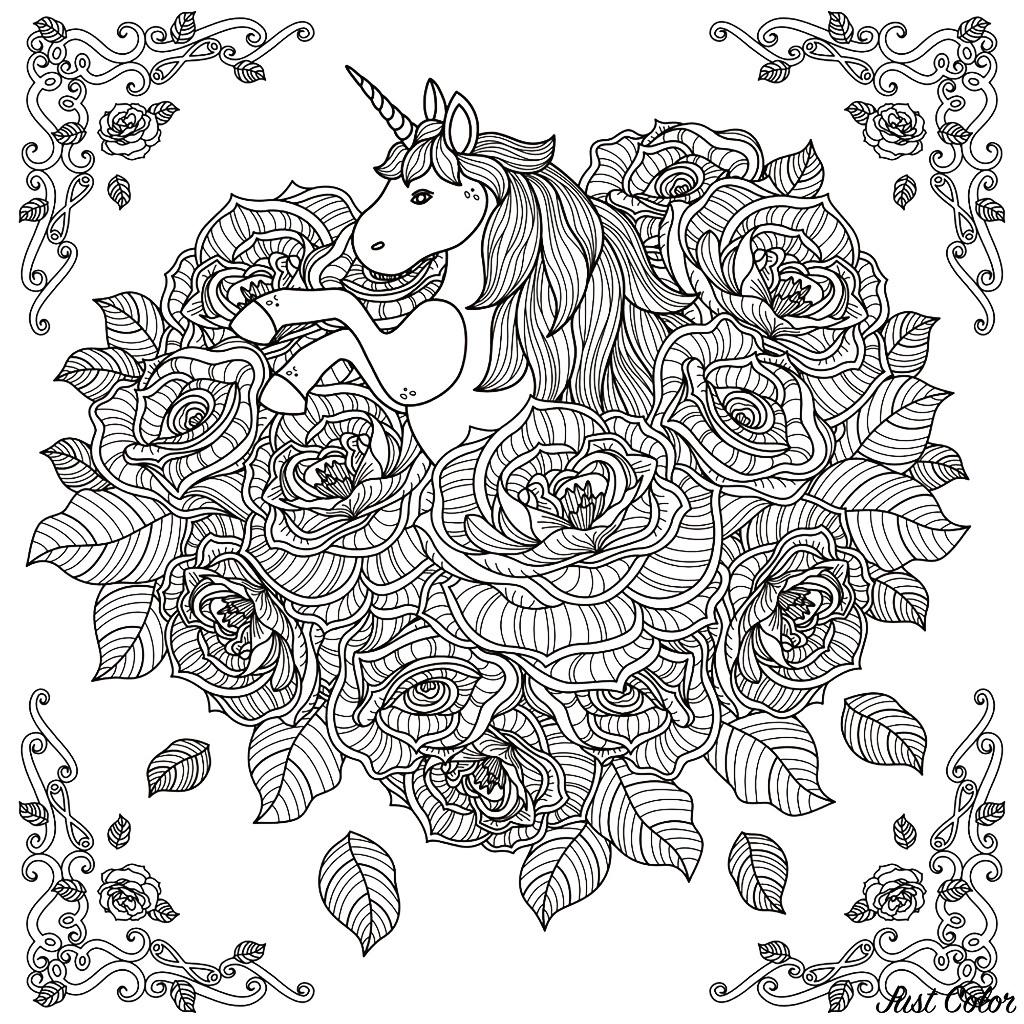 Licorne Mandala - Licornes - Coloriages Difficiles Pour Adultes avec Coloriage Adult
