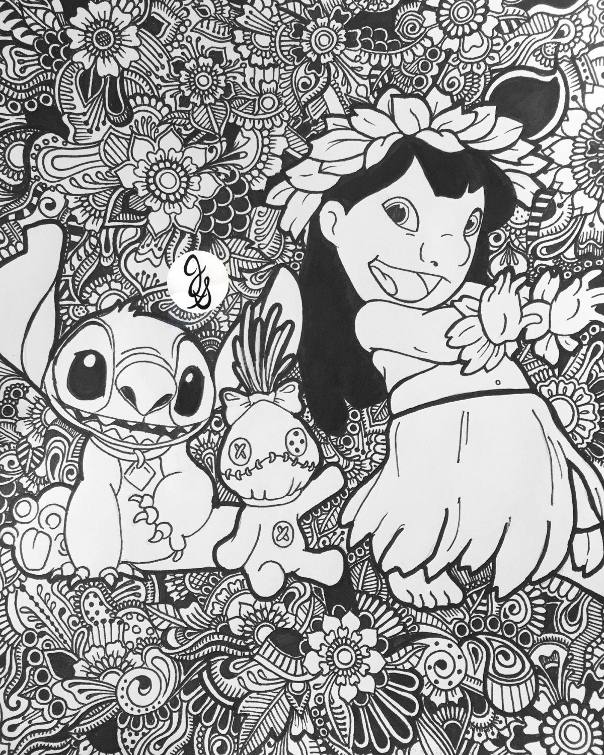 Lilo And Stitch Floral Design destiné Coloriage Lilo Et Stitch A Imprimer Gratuit