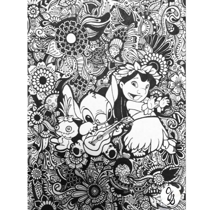 Lilo And Stitch Floral Design | Disney Coloring Pages intérieur Coloriage Lilo Et Stitch A Imprimer Gratuit
