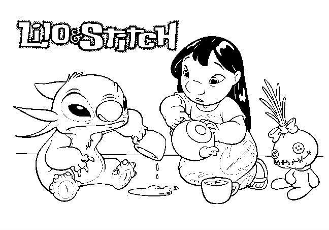 Lilo And Stitch Water Play | Coloriage, Chien Coloriage intérieur Coloriage A Imprimer Disney Stitch