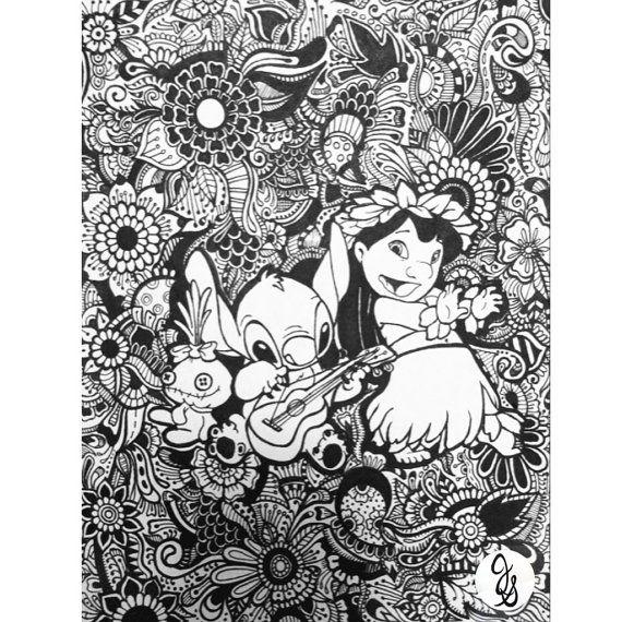 Lilo Et Stitch Design Floral Par Byjamierose Sur Etsy | Coloriage Disney, Coloriage, Pages De intérieur Coloriage Mandala Disney À Imprimer Gratuit