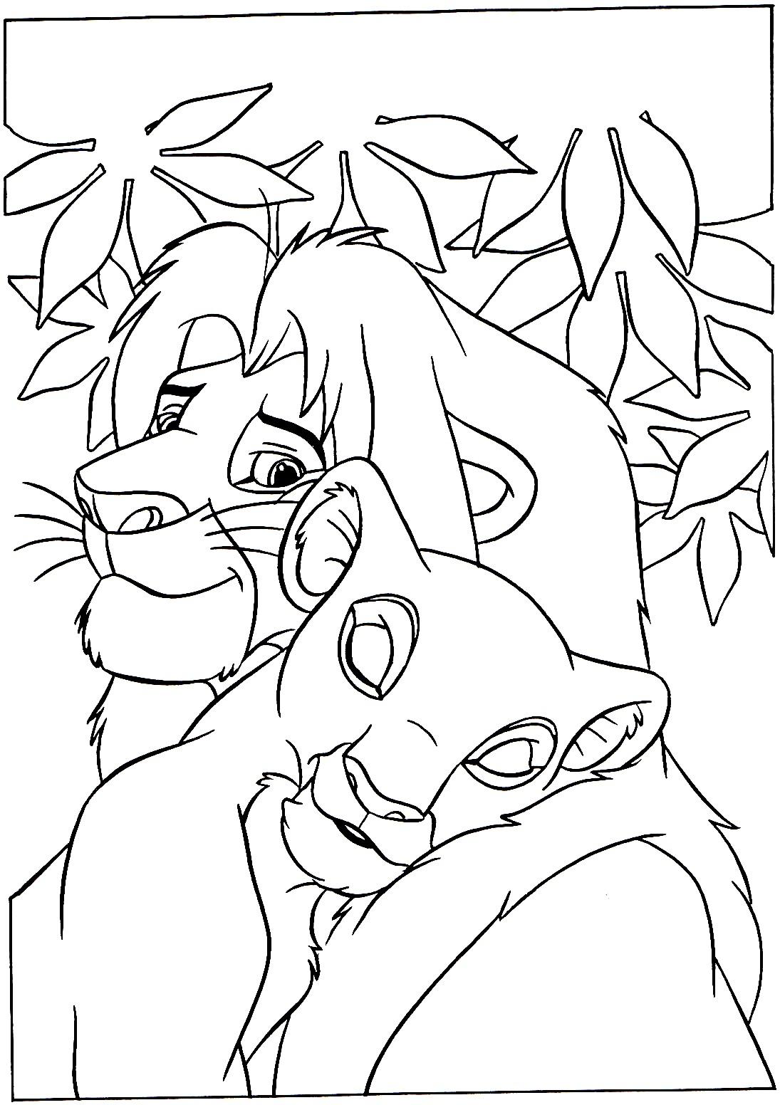 Lion King & Queen - The Lion King Kids Coloring Pages serapportantà Lion A Colorier
