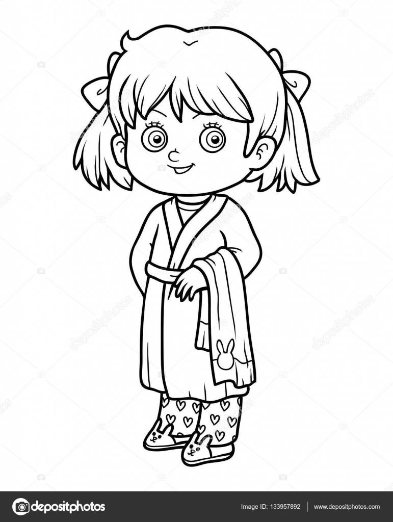 Livre De Coloriage, Jeune Fille Dans Un Peignoir — Image avec Coloriage Fille
