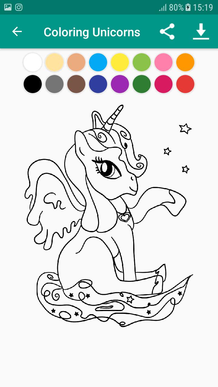 Livre De Coloriage Licorne & Unicorn For Android - Apk serapportantà Coloriage Licorne