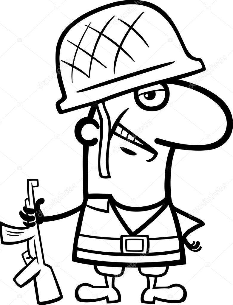 Livre De Coloriage Soldat Cartoon — Image Vectorielle serapportantà Coloriage Soldat