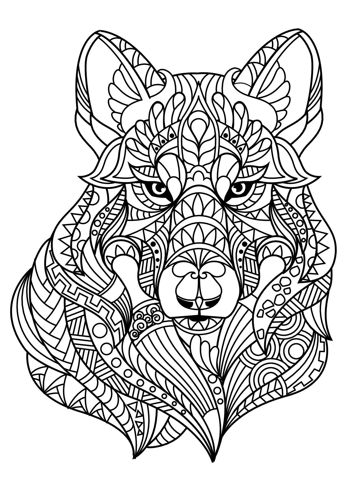 Livre Gratuit Loup - Loups - Coloriages Difficiles Pour intérieur Livre De Coloriage Adulte