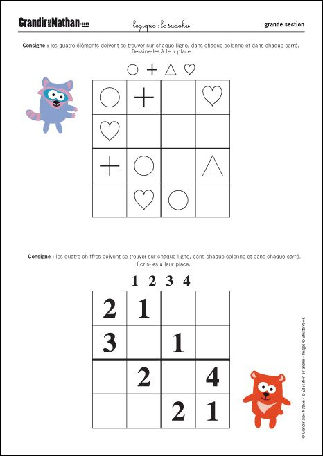 Logique - Grande Section - Le Sudoku | Sudoku Enfant à Exercices Coloriage Grande Section Imprimer