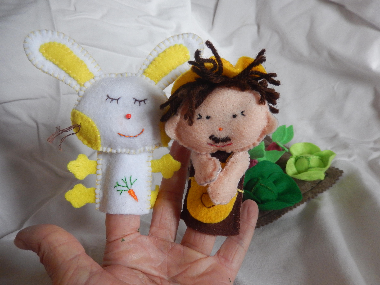 Lot De Marionnettes À Doigt En Feutrine - Mon Petit Lapin avec Le Petit Lapin S Est Caché Dans Le Jardin