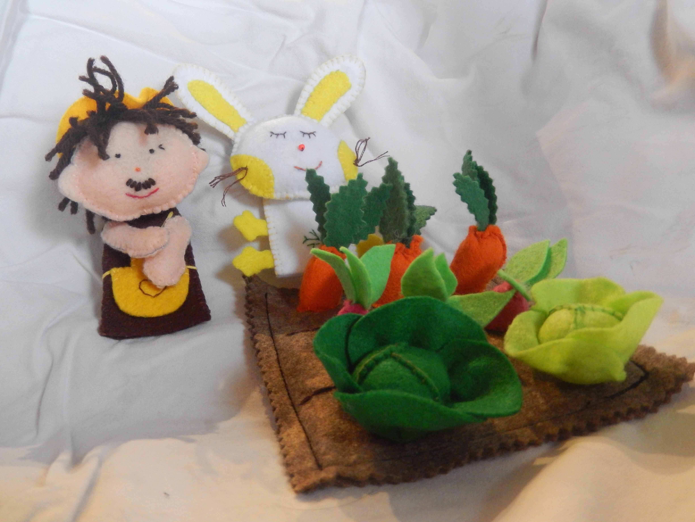 Lot De Marionnettes À Doigt En Feutrine - Mon Petit Lapin intérieur Le Petit Lapin S Est Caché Dans Le Jardin