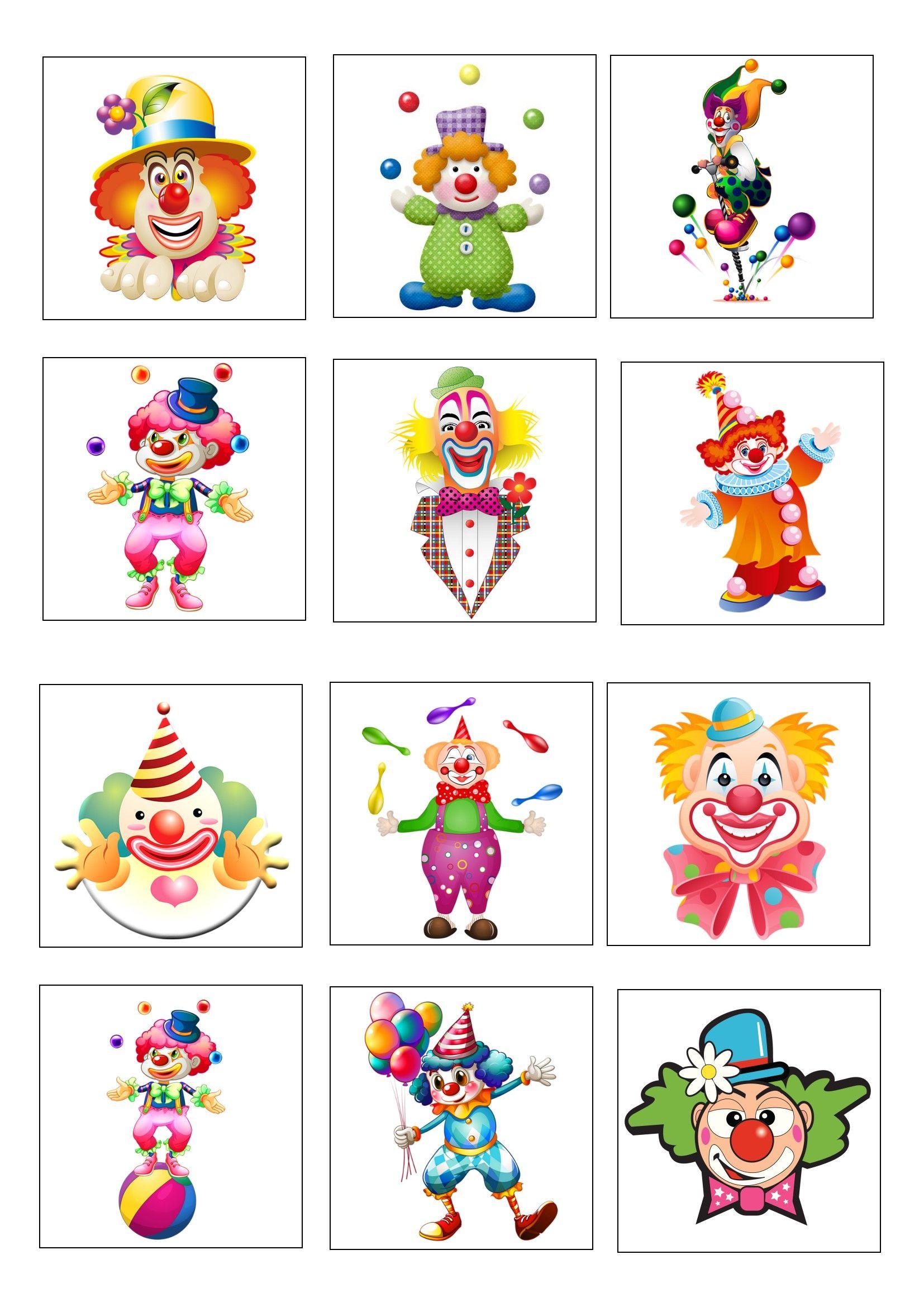 Loto Des Clowns Planche 1 À Imprimer 2 Fois | Carnaval serapportantà Jeux De Mémory À Imprimer