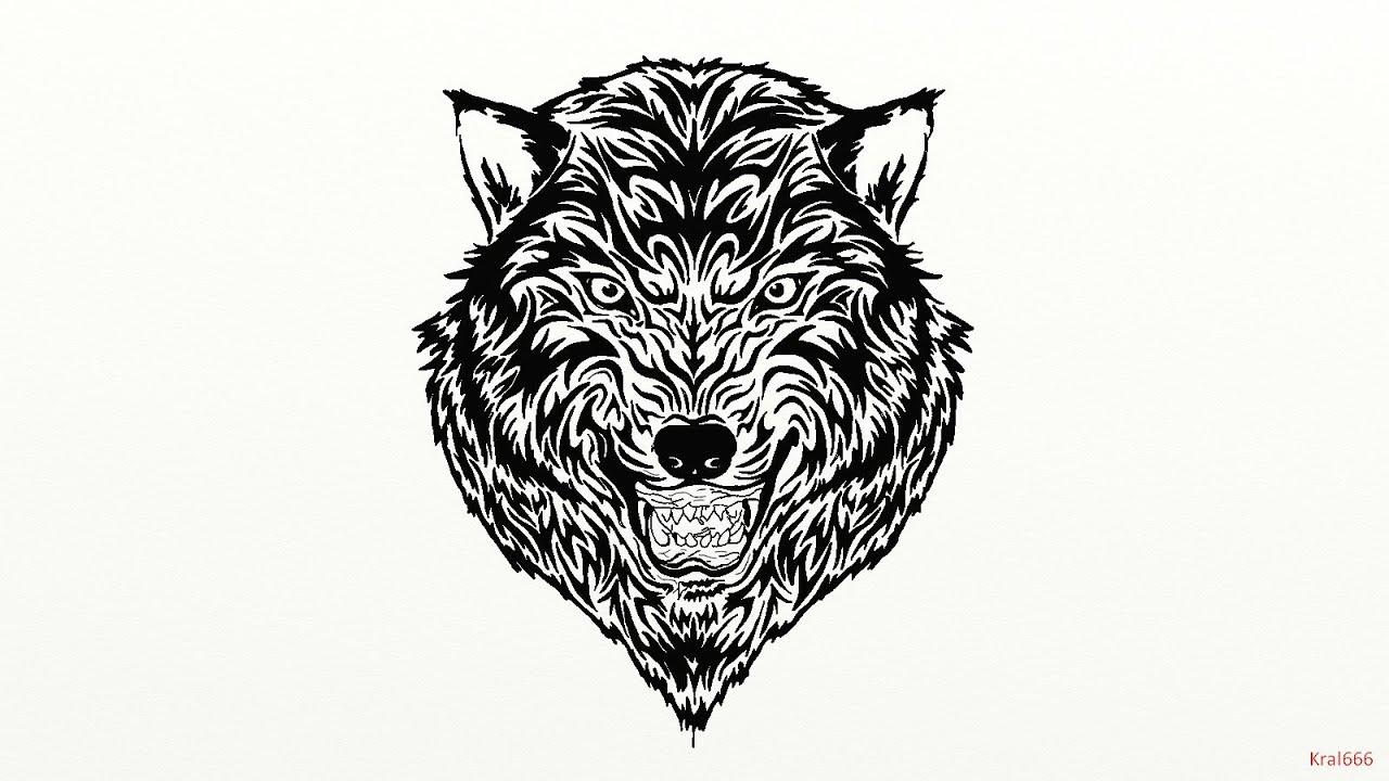 Loup Tribal - avec Tete De Loup Dessin