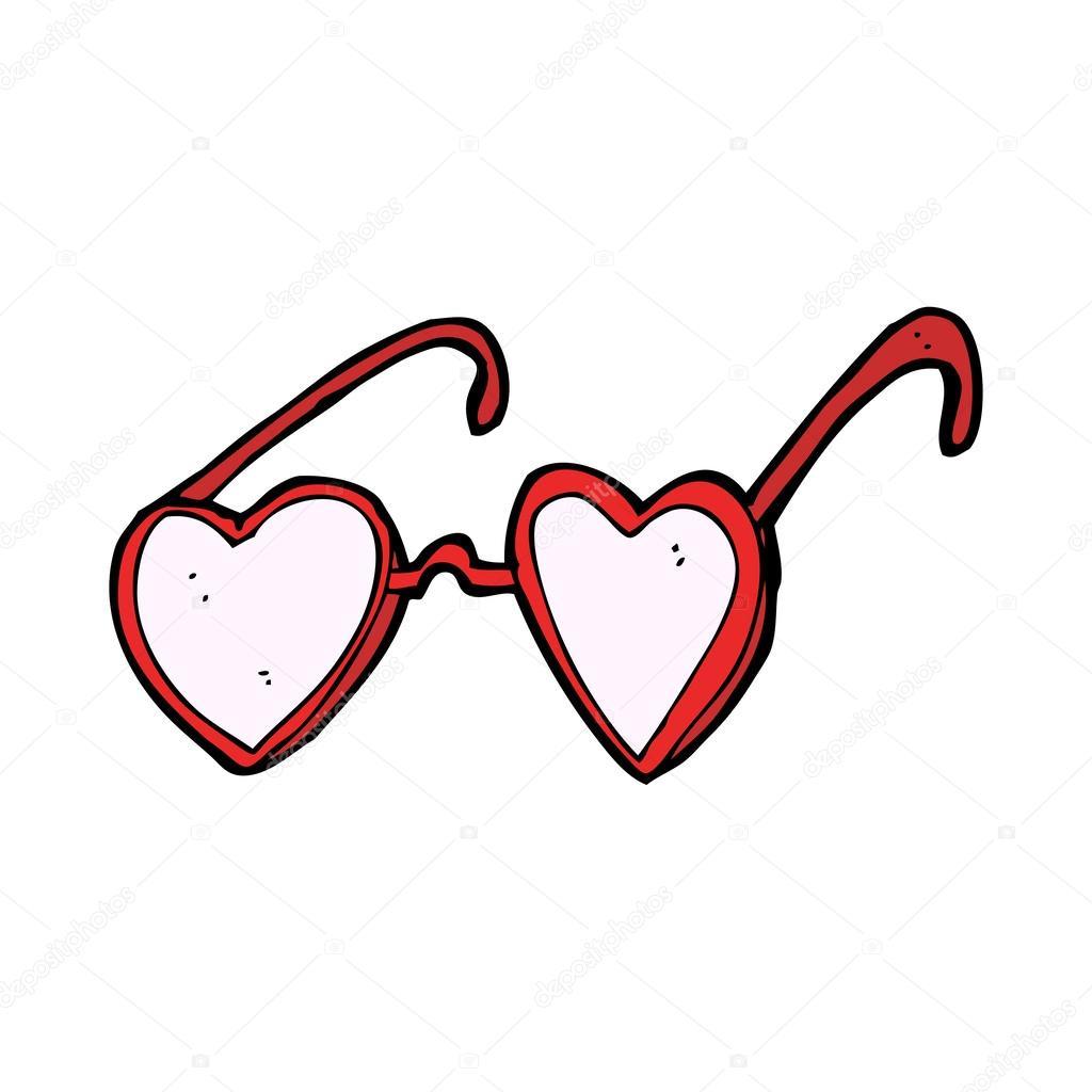 Lunettes Coeur Dessin Animé — Image Vectorielle dedans Lunette Dessin