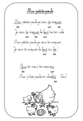 Ma Petite Poule En Chocolat - La Maternelle De Vivi encequiconcerne Chanson De La Petite Patate