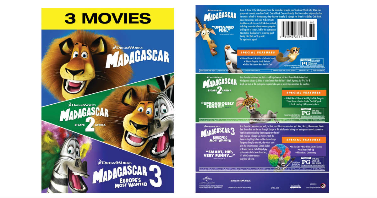Madagascar 1, 2, & 3 On Dvd Only $12.99 Shipped (Reg. $23 pour Madagascar 2 Argue 1/2